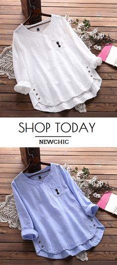 Embroidery Cat Hollow Out Loose Cotton Shirt for Women.Worldwide Shipping.#newchic#blouse#tops#summer 2018#fashion