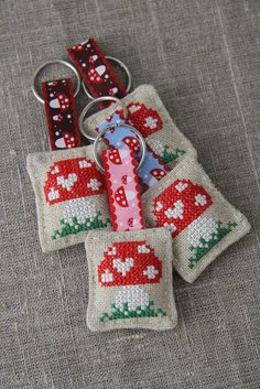 Cross Stitch Embroidery Cross-stitched toadstool, mushroom, linen key ring, keychain , small gift - by Plushka on madeit - Cross Stitching, Cross Stitch Embroidery, Embroidery Patterns, Hand Embroidery, Cross Stitch Designs, Cross Stitch Patterns, Mini Cross Stitch, Cross Stitch Finishing, Small Gifts