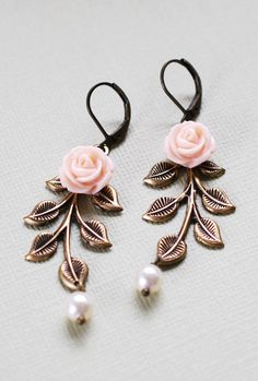 Vintage inspired wedding dangle earrings by LeChaim with brass leaf branch, Swarovski cream pearls, and pink flowers.