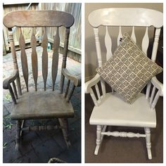 Before and After - old wooden rocking chair that I found on the street - I sanded it, wiped it with a damp cloth then spray painted it with a spray, primer and gloss in one. I recommend doing about 3 coats and leaving a bit of time between coats. I'm so excited about doing more furniture at home - my BF is nervous I'm gonna turn the whole house white!!!