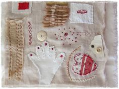 """""""rouge et blanc"""" mixed media fabric collage 