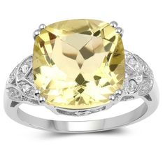 Olivia Leone Sterling Silver 6 3/5ct TGW Lemon Quartz and Diamond Accent Ring | Overstock.com Shopping - The Best Deals on Gemstone Rings