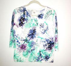 3/4 Sleeve Sweater Christpher Banks Purple Green White Sequins SZ Medium #ChristopherBanks #Cardigan