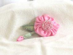 Pink Beaded Flower  Handmade Flower Brooch  by nedaoriginals