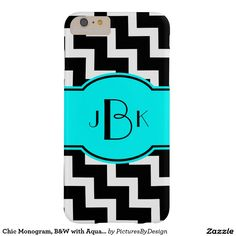 Bold Monogram Phone Case, Bold Black & White with Aqua; white chevron zigzag pattern on black background. Personalize with your monogram on the matching Aqua/Black label. This design is available for multiple phone or device styles. Select CUSTOMIZE to choose your device option.
