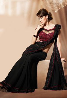#Black Faux #GeorgetteSaree @ $74.00