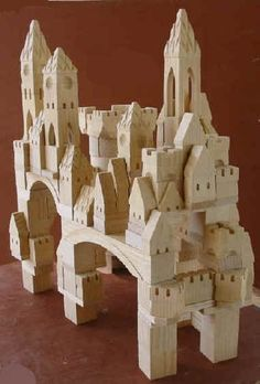Wooden castle block set saw a guy who makes these. thought i would buy some when the baby comes. Wooden Toys For Toddlers, Toddler Toys, Kids Toys, Wooden Castle, Toy Castle, Wood Games, Cardboard Toys, Wooden Blocks, Wood Toys