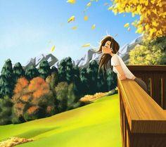 Fall in love - Art Print - Digital Art - Wall Decor - Illustration Art - Peijin Alone Art, Poster Print, Girly Drawings, Digital Art Girl, Illustrator, Anime Scenery, Anime Art Girl, Aesthetic Art, Cartoon Art
