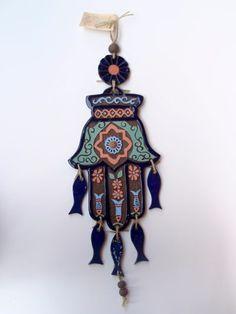 חמסה בשילוב דגים - עבודת יד כחול לבן  / מרוקאי (חפצים וכלים) / יודאייקה  / חמסות HAMSA | Hotam