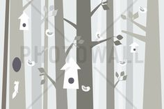 Bird Forest - Beige - Tapetit / tapetti - Photowall