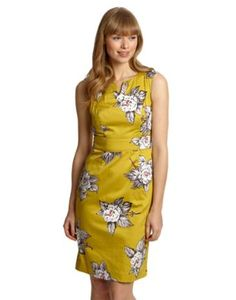 Joules Womens Dress, Freya Floral Cornfield.                     This cap-sleeve dress has been splashed with a hand-drawn floral print that makes it a true stand out piece. One to reach for if you're off to a Summer wedding. Crafted in the finest soft summer cotton.