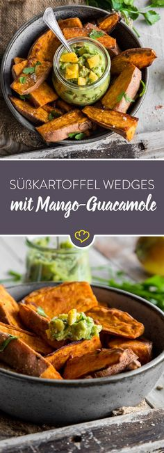 Feierabend-Schlemmerei: Süßkartoffel Wedges mit Mango-Guacamole Which dip best suits the fast sweet potato wedges out of the oven? Quite clear: a creamy guacamole with fruity mango pieces. Veggie Recipes, Vegetarian Recipes, Healthy Recipes, Cheap Recipes, Vegetarian Sweets, Potato Recipes, Feta, Baked Sweet Potato Wedges, Mango Guacamole
