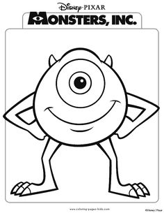 Free printable monsters Inc coloring pages for kids. Color this online pictures and sheets and color a book of monsters Inc sheets. Monster Coloring Pages, Cartoon Coloring Pages, Disney Coloring Pages, Coloring Pages To Print, Coloring For Kids, Printable Coloring Pages, Coloring Pages For Kids, Coloring Sheets, Coloring Books