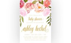Girl Baby Shower Invitation, Boho, Flower, Watercolor, Peonies (329)