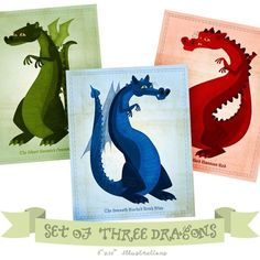 Set of 3 Dragon Illustrations