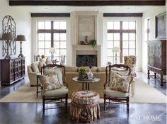 Cross beam windows, furniture arrangement