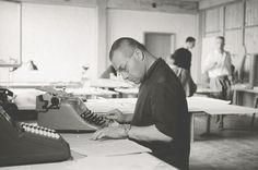 Max Bill at his desk in the school, Ulm, 1956