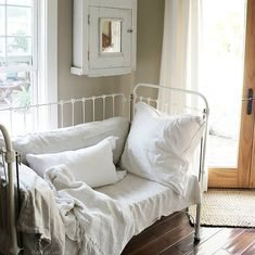 Antique Crib repurposed at home on SweetCreek
