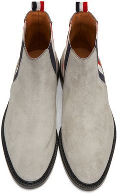 Thom Browne - Grey Suede Chelsea Boots