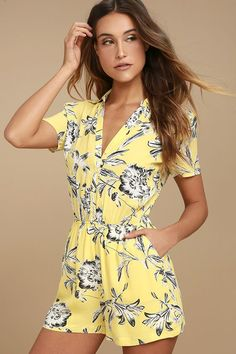b4084435a3c The BB Dakota Morgana Yellow Floral Print Romper was made for sunbathing  and sippin  on