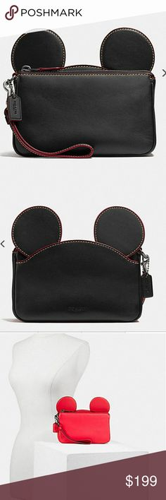 "COACH DISNEY X BLACK MICKEY EAR  WRISTLET NWT BLACK COACH DISNEY X LIMITED EDITION WRISTLET NWT. GLOVE CALF LEATHER,  INSIDE SLIP POCKET, ZIP TOP CLOSURE, FABRIC LINING,  OUTSIDE OPEN POCKET.  7.5"" L X 4.5"" H X 2""W.    WILL SELL FAST! coach  Bags"