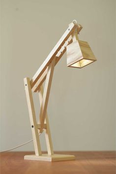 the catapult modern wood arm lamp in walnut contemporary light wood veneer light fixtures wood light fixtures bathroom Wooden Desk Lamp, Homemade Tables, Homemade Lamps, Diy Holz, Wood Design, Wood Projects, Light Fixtures, Woodworking Plans, Woodworking Projects