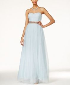 Teeze Me Juniors' Embellished Strapless A-Line Dress | macys.com
