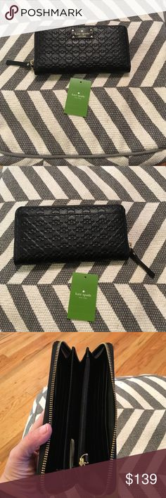 NWT, Kate Spade Penn Place Embossed Leather Wallet Brand new with tags! 100% authentic, black all leather with spade design. Style neda, wlru2517, penn place embossed, black 001. 12 card slot, money can lay flat, coin zip compartment, and back of wallet has a compartment. Have matching purse in separate listing. No trades, no low ball offers!  About 8 inches in length about 4 inches deep. kate spade Bags Wallets