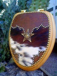 WESTERN FANCY DECOR COWBOY COWHIDE STAR TOILET SEAT | Western Decor by Signature Cowboy