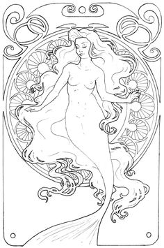 Drawn mermaid art nouveau - pin to your gallery. Explore what was found for the drawn mermaid art nouveau Art Nouveau Tattoo, Tatuagem Art Nouveau, Tattoo Art, Design Art Nouveau, Mermaid Coloring, Sailor Jerry, Mermaids And Mermen, Mermaid Tattoos, Alphonse Mucha
