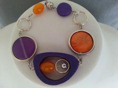 Bracelet asymétrique violet et orange - Bijou orange et violet - Bracelet moderne : Bracelet par bijouxlibellule Purple Necklace, Purple Jewelry, Funky Jewelry, Bracelets, Necklaces, Fashion Mode, Violets, Mothers, Etsy