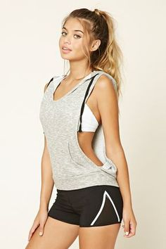 A heathered knit sleeveless athletic pullover featuring a drawstring hood, a scooped V-neckline, dropped armholes, and a kangaroo pocket.