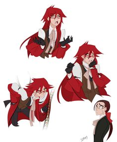 Someone kindly asked Ronald Knox so here he is!!!. And more Grell! because why not. Grell is very expressive and fun to draw. ©Yana Toboso