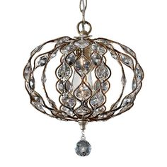 Steel chandelier in a burnished steel finish dressed with sunflower shape Bauhinia crystals