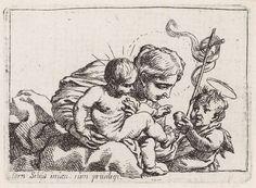Cornelis Schut (I) | Madonna met kind en Johannes de doper, Cornelis Schut (I), unknown, 1618 - 1655 | Het Christuskind zit bij Maria op schoot. Maria kijkt naar de appel die de jonge Johannes de Doper aan het Christuskind aanbiedt. In zijn andere hand houdt Johannes een overwinningsbanier.