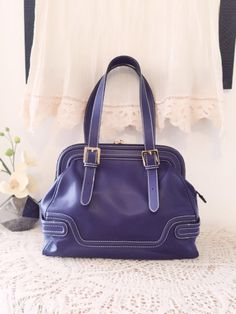 Purple blue leather bag, Soft leather tote bag, Women leather purse, Chic design, Purple leather satchel, Leather handbag, Gift for women