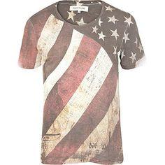 RIVER ISLAND* Ecru Distressed American Flag print T-Shirt