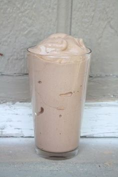 Protein shake that tastes like Wendy's Frosty! 3/4 cup almond milk, about 15 ice cubes, 1 scoop vanilla protein powder, 1-2 Tbsp unsweetened cocoa powder, sweetener of choice (1/4 of a frozen banana or stevia).