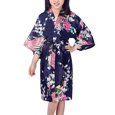 FAYBOX Flower Girls Kimono Peacock Satin Robe for Spa Party Wedding *** See this great product. We are a participant in the Amazon Services LLC Associates Program, an affiliate advertising program designed to provide a means for us to earn fees by linking to Amazon.com and affiliated sites.