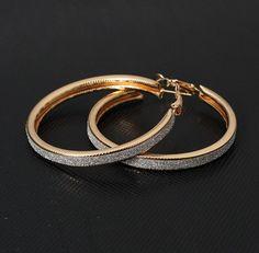 Vintage Rhinestone Hoop Earrings (Gold/Silver)