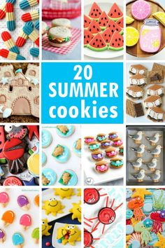 summer cookies: A roundup of ideas for summer decorated cookies. Great desserts for Memorial Day, BBQs, and the of July. Delicious Cookie Recipes, Best Cookie Recipes, Best Dessert Recipes, Fun Desserts, Bar Recipes, Amazing Recipes, Dessert Ideas, Drink Recipes, Cooking Recipes