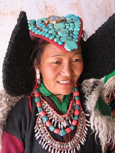 Ladakhi woman wearing traditional jewellery
