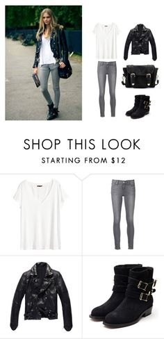 """Sans titre #36"" by paolala3810 ❤ liked on Polyvore featuring H&M, Paige Denim, Rupert Sanderson and Poverty Flats"