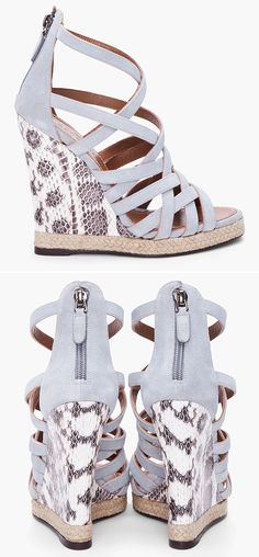 Barbara Bui suede + python wedge sandals