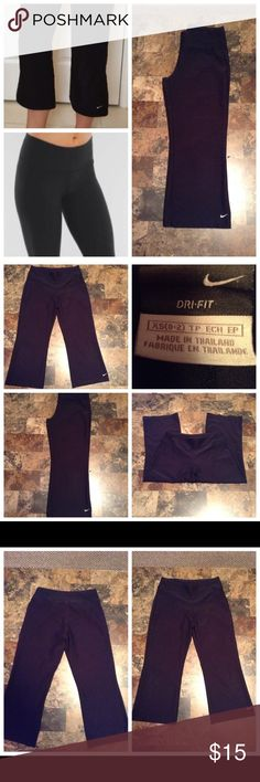 "Nike Dri-Fit Capri Nike Capri.  Wide Leg. Size XS (0-2). Black. Leg made of 88% Polyester and 12% Spandex. Opening ""8.5. Inseam ""21. Length ""29. Laying flat ""13 (waist 26). This item is NOT new, It is used and in Good condition. Authentic and from a Smoke And Pet free home. All Offers through the offer button ONLY.  Ask any questions BEFORE purchase. Please use the Offer button, I WILL NOT negotiate in the comment section. Thank You😃 Nike Pants Capris"