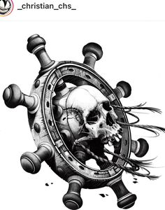 Latest Tattoo Design, New Tattoo Designs, Skull Tattoo Design, Dot Tattoos, Skull Tattoos, Sleeve Tattoos, Maritime Tattoo, Tattoo Caveira, Epic Tattoo