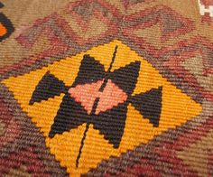 "Vintage Anatolian Kilim with Scorpion Medallions in Autumn Colors 4'7"" x 11'6"""