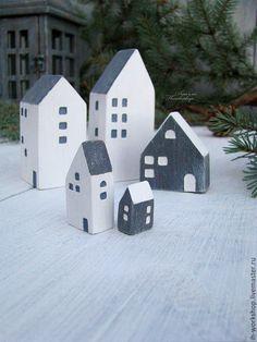 Купить Домики. Миниатюрный городок в скандинавском стиле. - серый, новый год…
