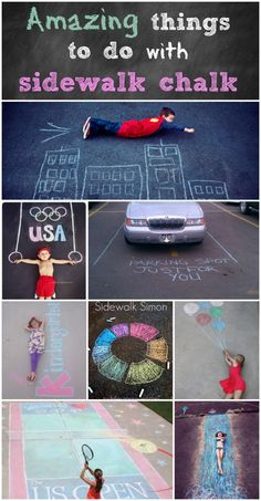 Amazing things to do with sidewalk chalk! - Page 2 of 2 - Princess Pinky Girl Babysitting Activities, Summer Activities, Craft Activities, Toddler Activities, Summer Crafts, Fun Crafts, Crafts For Kids, Princess Pinky Girl, Sidewalk Chalk