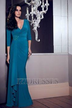 Sheath/Column V-neck Elastic Woven Satin Prom Dress - IZIDRESSES.COM at IZIDRESSES.com